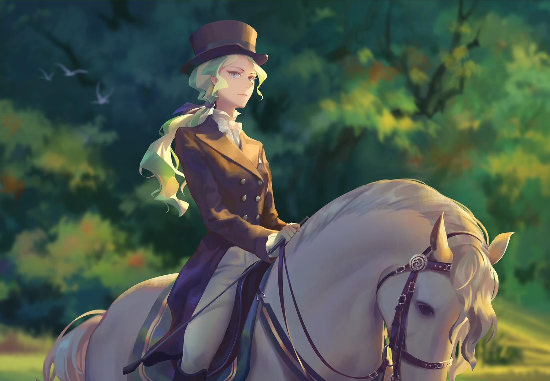 animal aqua_eyes bird bow diana_cavendish edakai gloves green_hair hat horse little_witch_academia long_hair ponytail tree uniform weapon