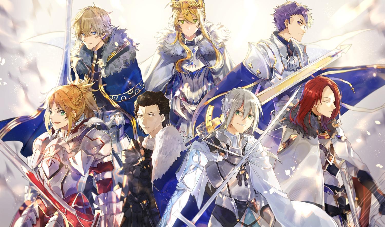 agravain aliasing armor artoria_pendragon_(all) artoria_pendragon_(lancer) bedivere fate/grand_order fate_(series) gawain group lancelot_(fate) male mordred sword tristan_(fate/grand_order) tsugutoku weapon