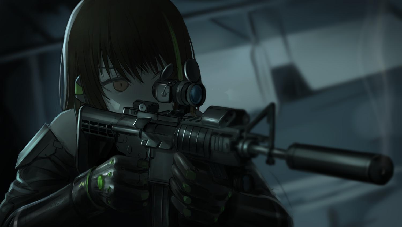 anthropomorphism brown_eyes brown_hair close dark girls_frontline gloves gun m4a1_(girls_frontline) tararelux weapon