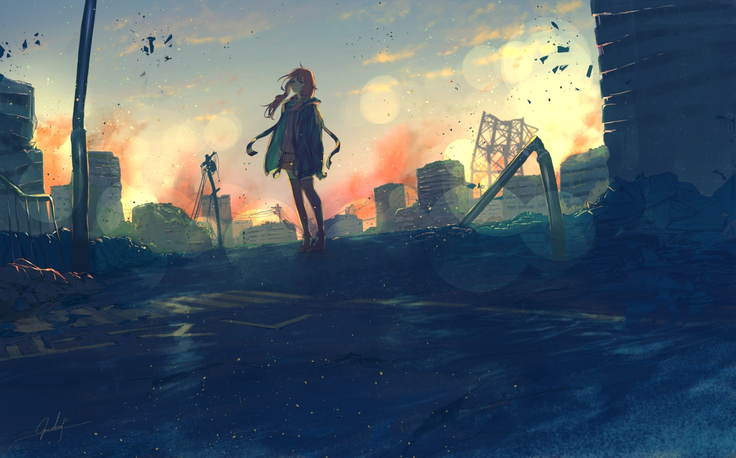 building clouds long_hair ruins scenic signed sky sunset tagme_(artist) vocaloid voiceroid yuzuki_yukari