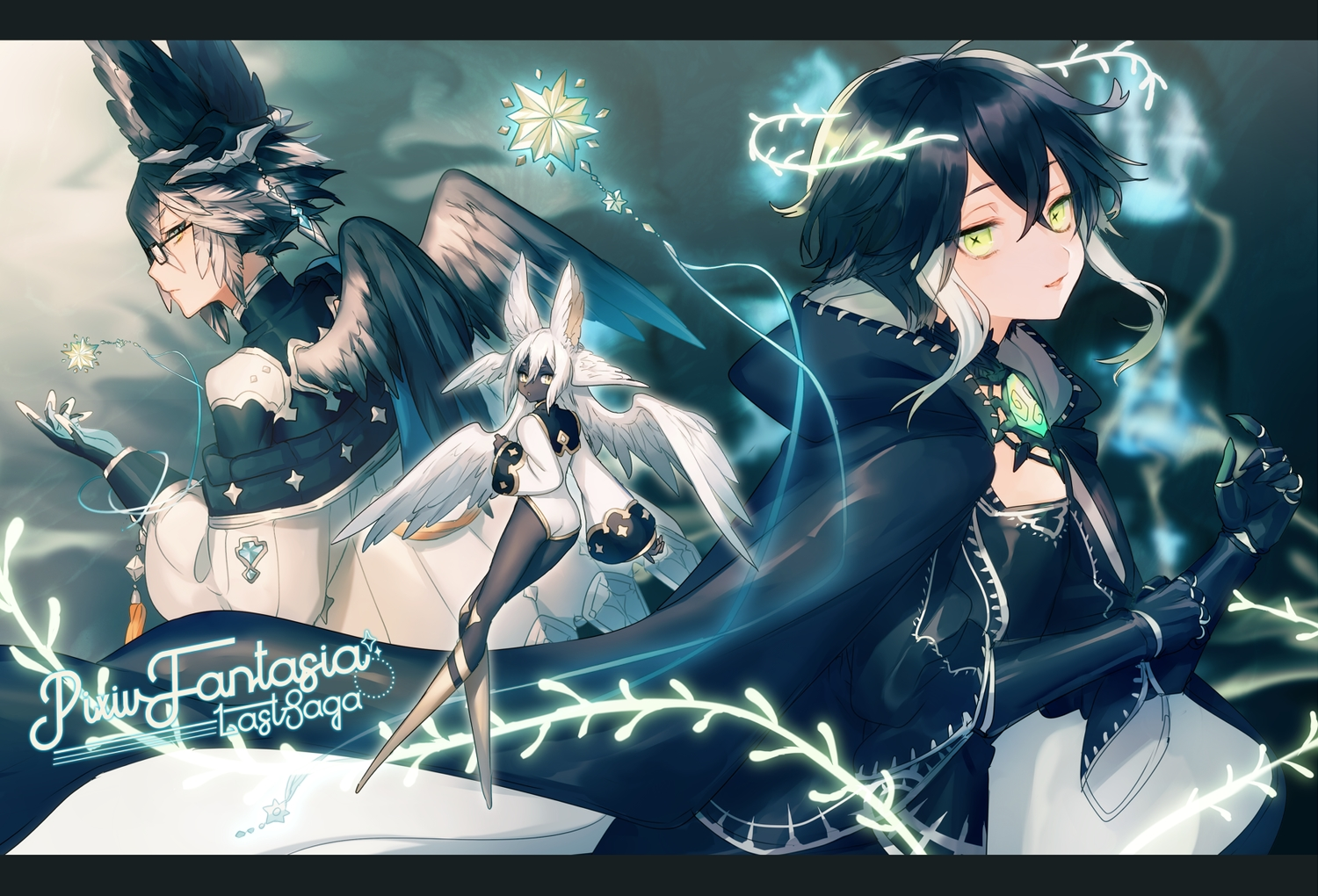 asuda black_hair dark_skin elbow_gloves fairy feathers flat_chest glasses gloves green_eyes long_hair original pixiv_fantasia wings
