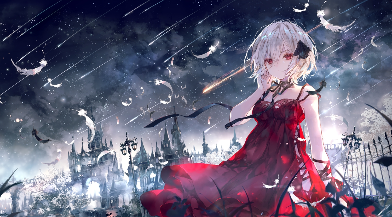 building clouds dress feathers night onineko original red_eyes ribbons sky stars white_hair