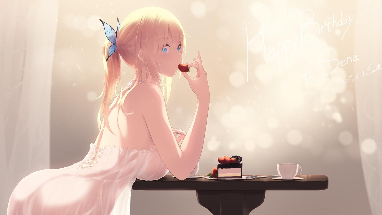 aqua_eyes ass blonde_hair boku_wa_tomodachi_ga_sukunai cait cake dress food fruit kashiwazaki_sena long_hair ponytail see_through signed strawberry summer_dress