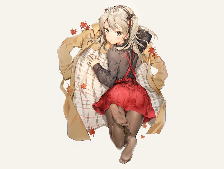 anmi ass autumn blush bow brown_eyes brown_hair girls_und_panzer gray headband leaves long_hair pantyhose shimada_arisu shirt skirt twintails