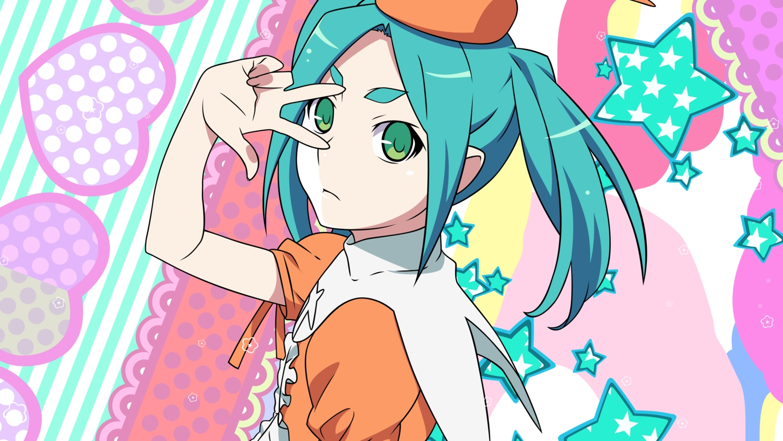 aqua_hair bakemonogatari green_eyes loli monogatari_(series) ononoki_yotsugi short_hair stars transparent tsukimonogatari vector
