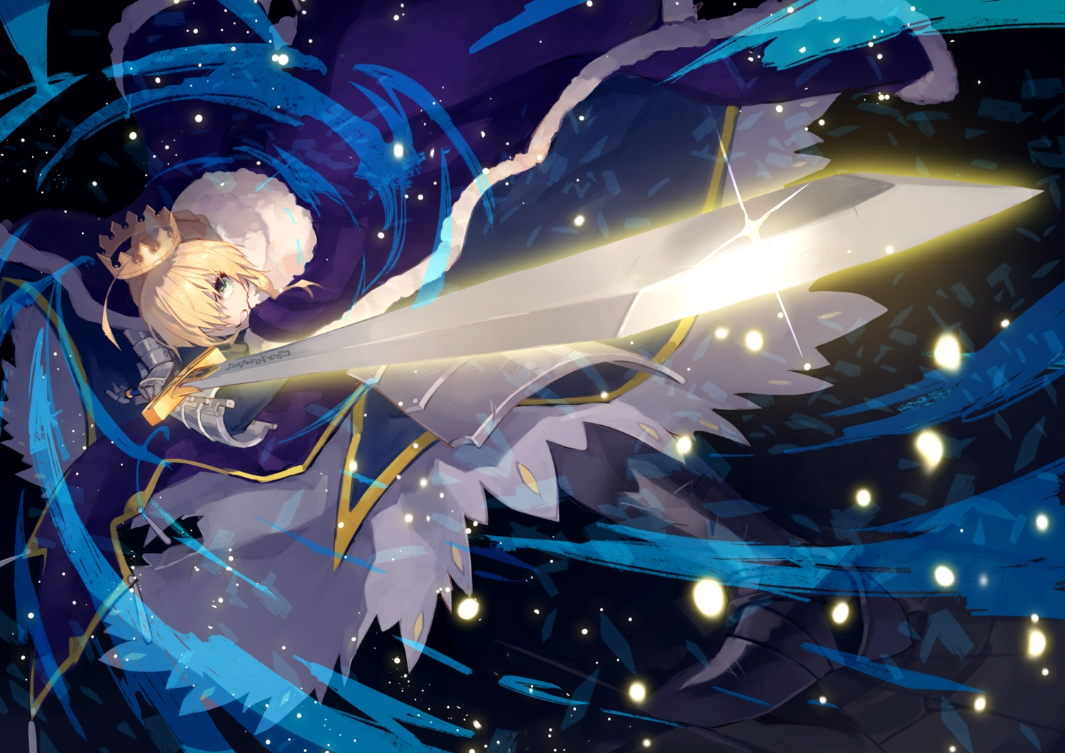 armor artoria_pendragon_(all) blonde_hair cape crown fate/grand_order fate_(series) green_eyes saber short_hair sword uedrk_yamato weapon