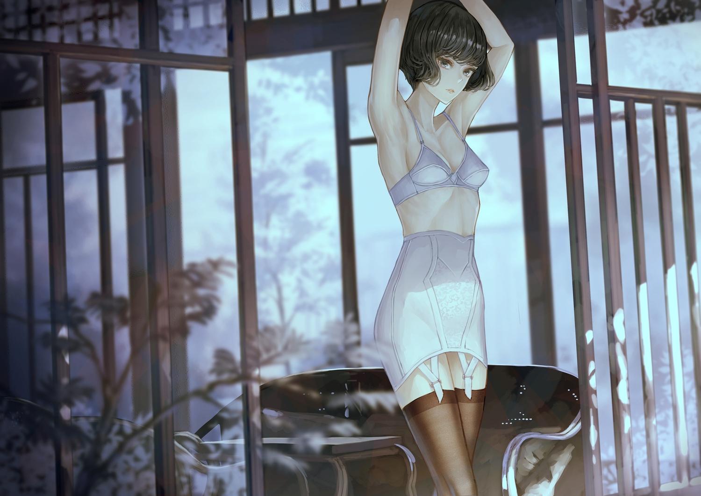 black_hair bra garter_belt idolmaster idolmaster_cinderella_girls short_hair skirt takagaki_kaede thighhighs underwear yasukura_(shibu11)