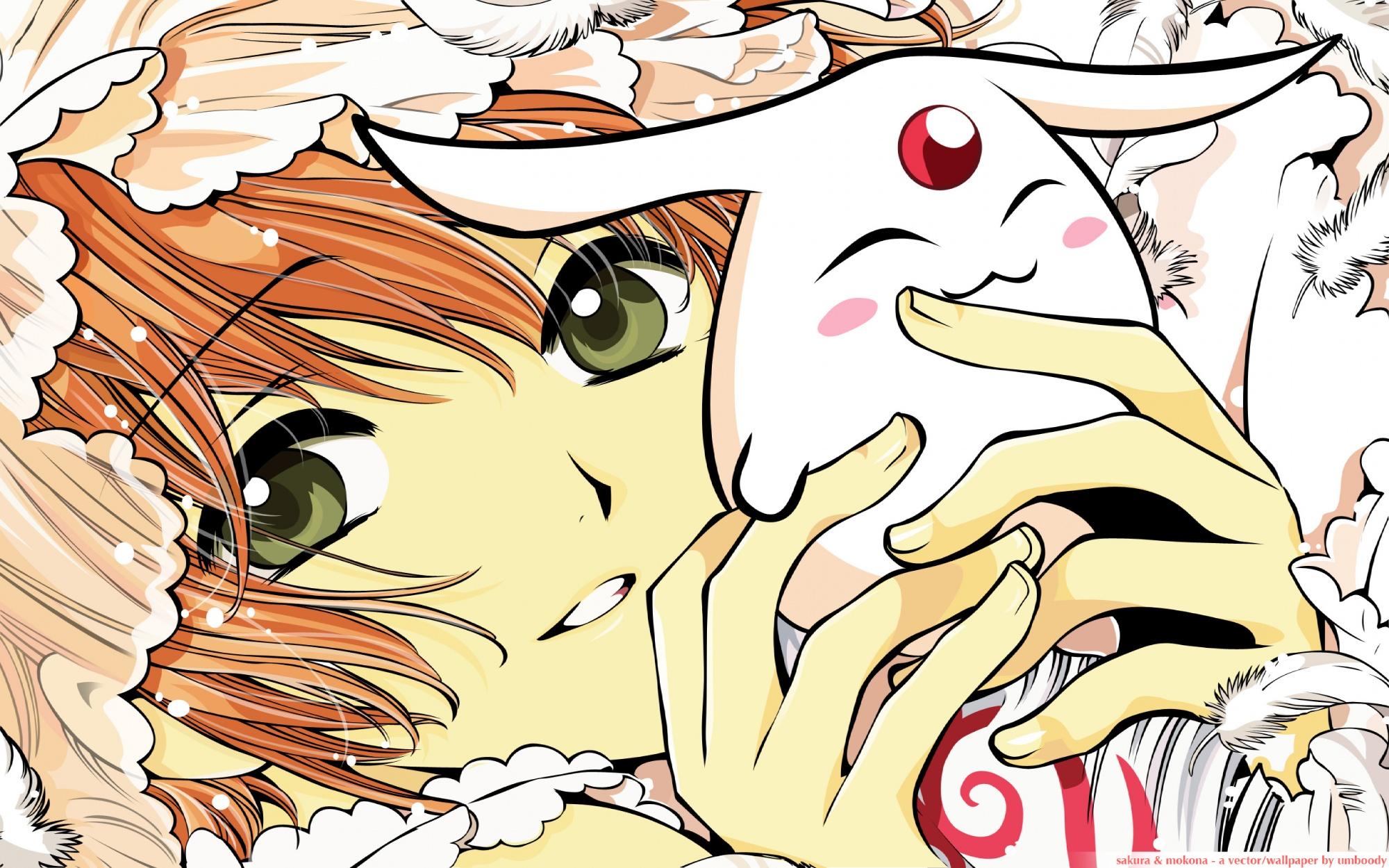 brown_hair clamp close feathers green_eyes mokona sakura_(tsubasa) tsubasa_reservoir_chronicle watermark