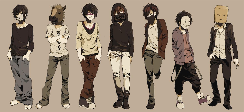 all_male barefoot black_hair brown_hair group kina58 male mask original short_hair shorts