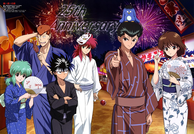 group hiei_jaganshi kurama kuwabara_kazuma male scan tagme_(artist) tagme_(character) urameshi_yuusuke yukina_(yu_yu_hakusho) yu_yu_hakusho