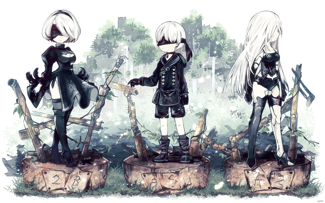 blindfold boots breasts cleavage collar dextral dress feathers gloves headband leotard long_hair male nier nier:_automata polychromatic short_hair shorts thighhighs white_hair yorha_unit_no._2_type_a yorha_unit_no._2_type_b yorha_unit_no._9_type_s