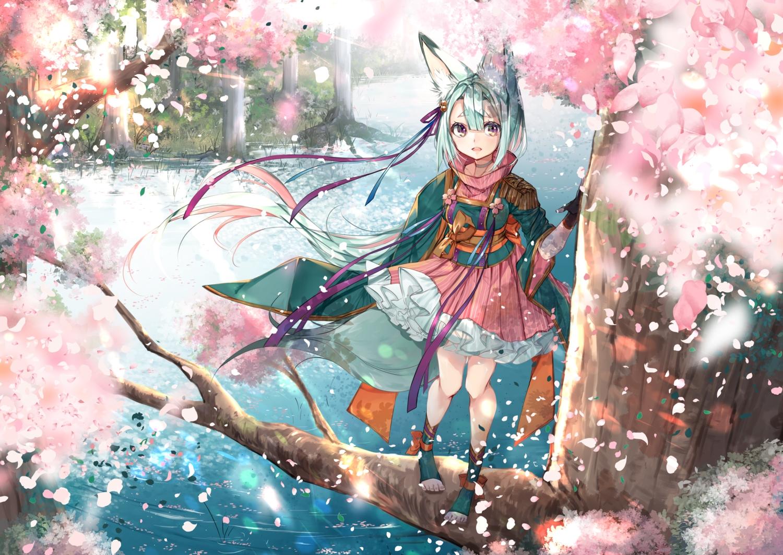 animal_ears cherry_blossoms flowers foxgirl green_hair japanese_clothes lolita_fashion original purple_eyes spring tail umi_no_mizu water
