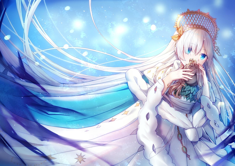 anastasia_(fate/grand_order) aqua_eyes cape doll dress fate/grand_order fate_(series) headdress ice_(ice) long_hair white_hair