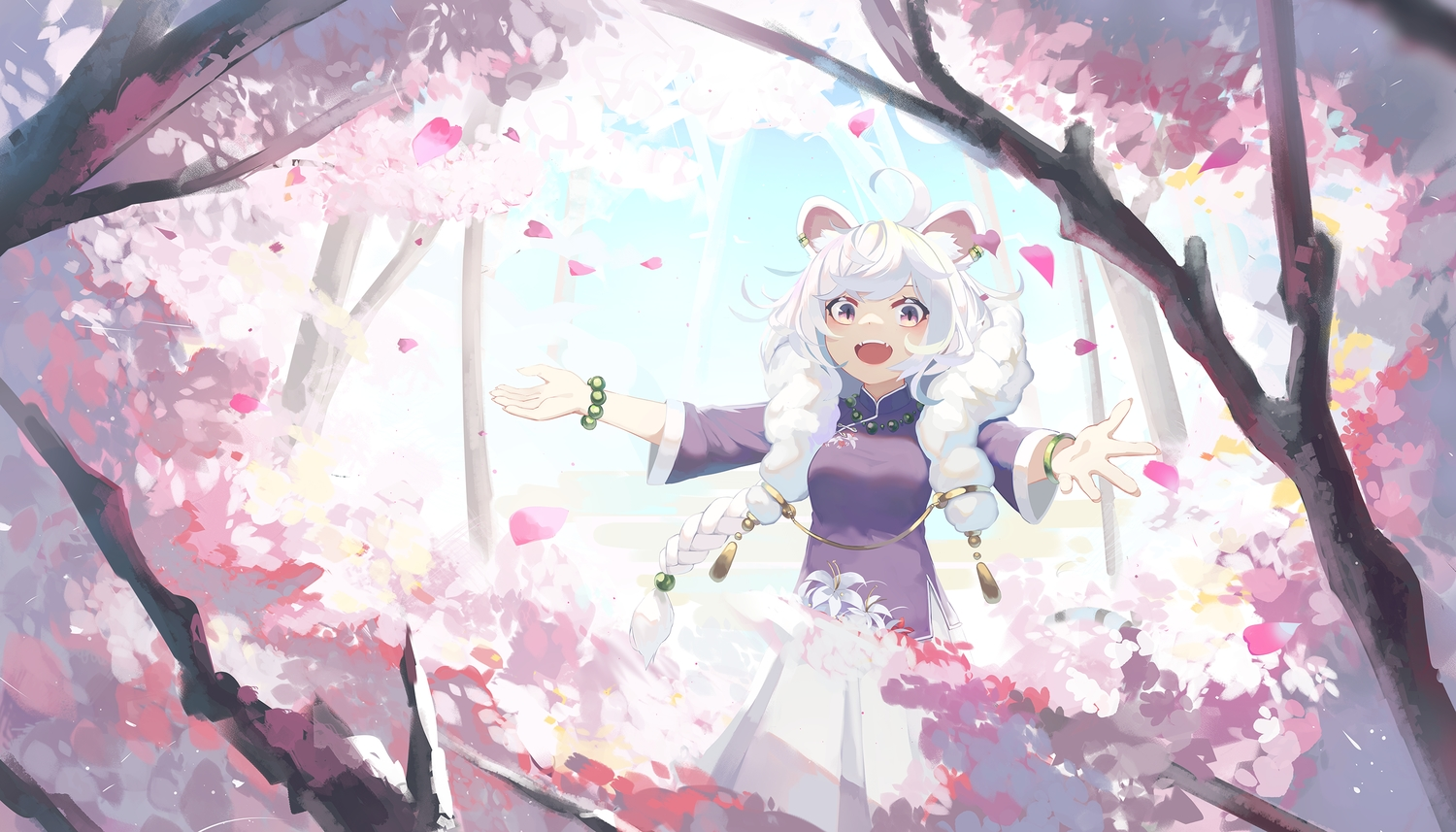 animal_ears braids cherry_blossoms chinese_clothes flowers long_hair natori_youkai original petals pink_eyes tree twintails white_hair wristwear