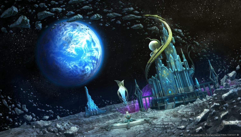 building final_fantasy final_fantasy_xiv moon planet scenic space square_enix