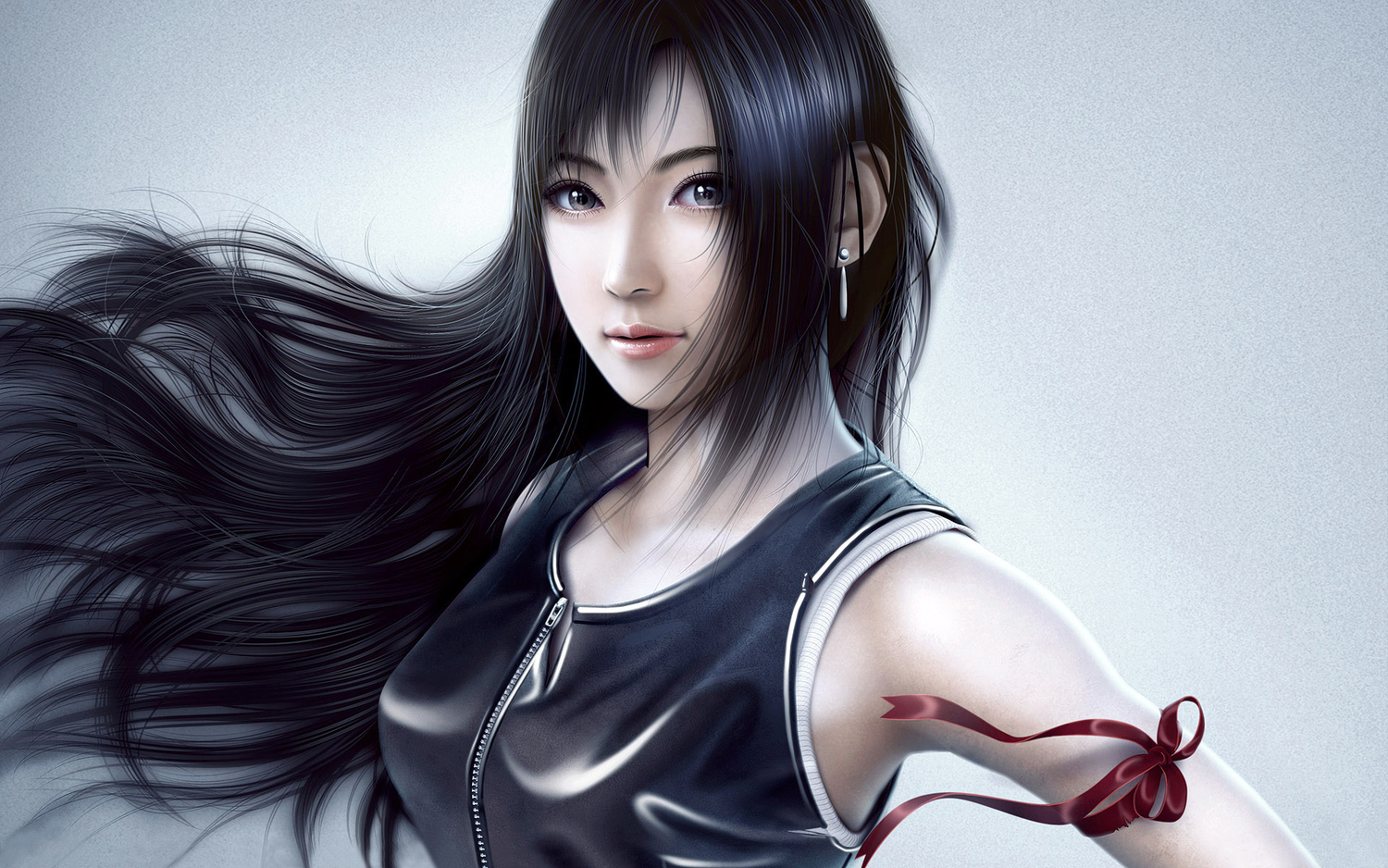 black_eyes black_hair final_fantasy final_fantasy_vii realistic ribbons tifa_lockhart