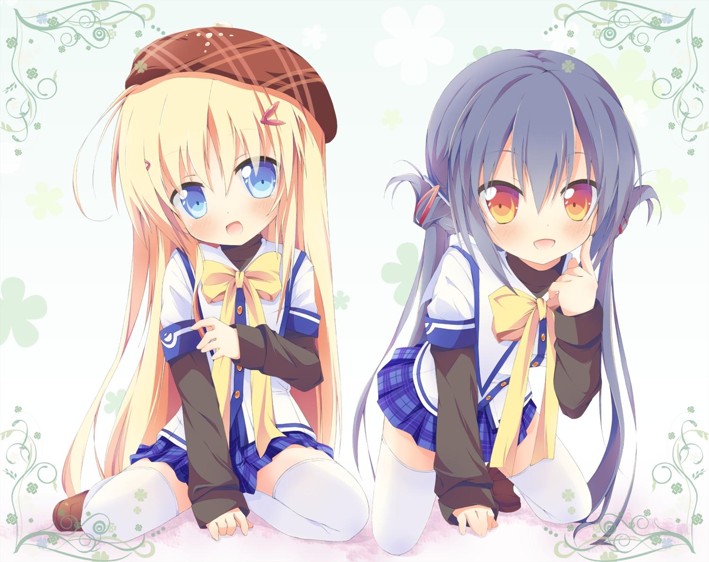 2girls alcot blonde_hair blue_eyes blue_hair blush bow clover_day's hat orange_eyes skirt takakura_anri takakura_anzu thighhighs torinannkotsukushi