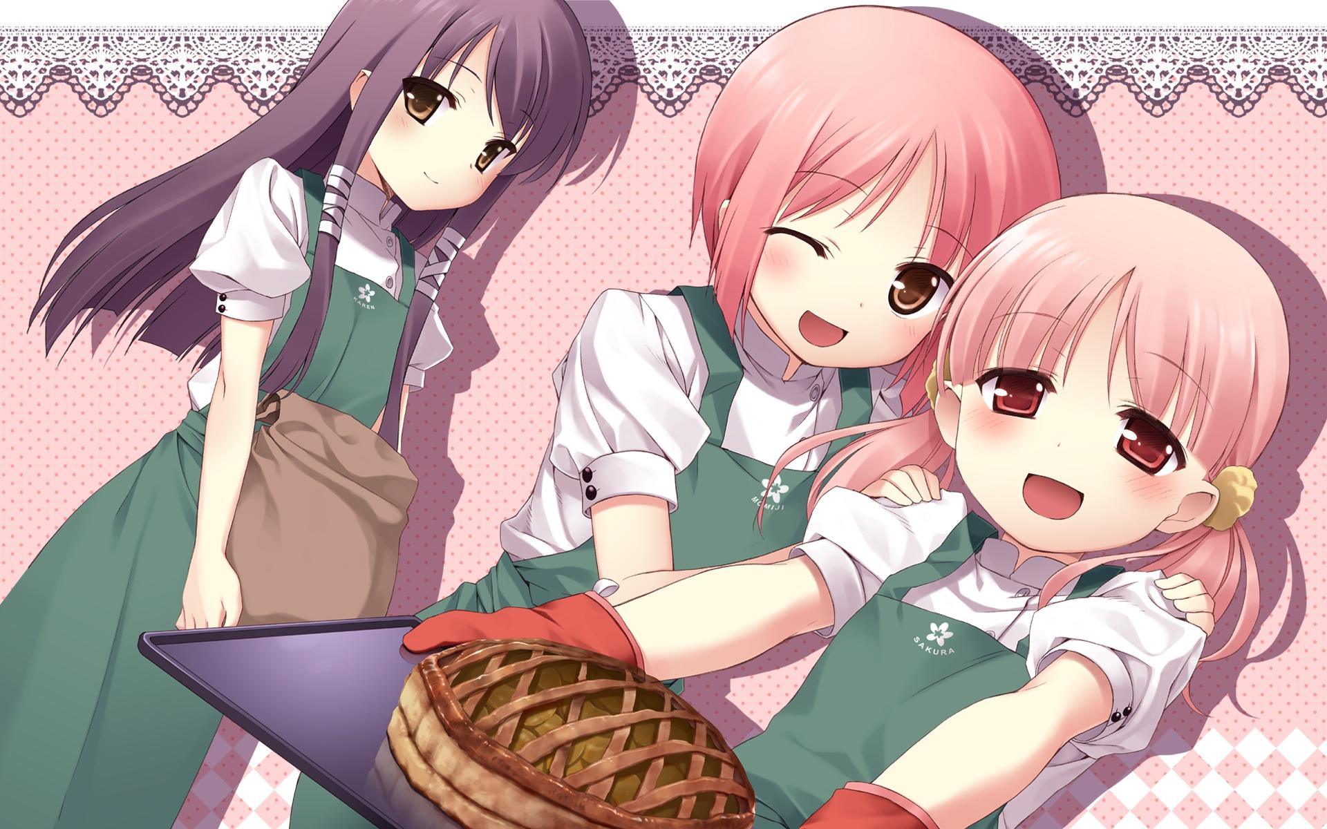 akino_momiji apron b.k blush food gloves kiriyama_sakura sakura_musubi sera_karen wink