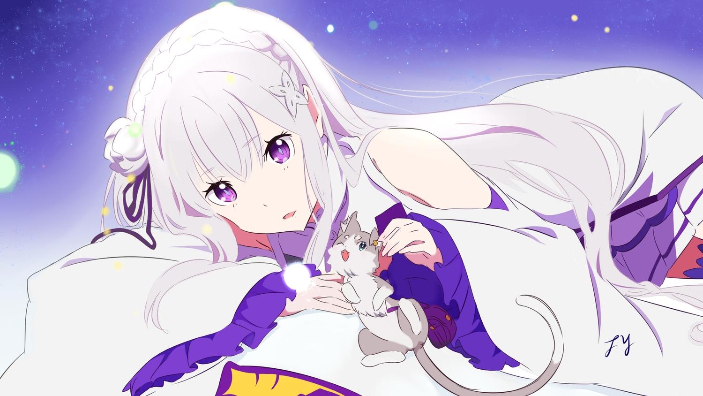 animal cat dress emilia long_hair puck purple_eyes re:zero_kara_hajimeru_isekai_seikatsu signed tagme_(artist) white_hair