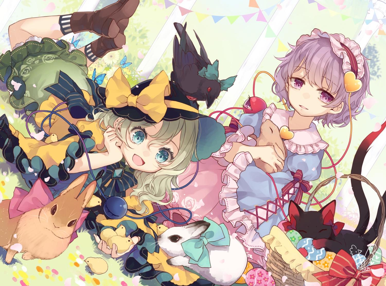 2girls animal bird cat kaenbyou_rin komeiji_koishi komeiji_satori rabbit reiuji_utsuho signed touhou toutenkou
