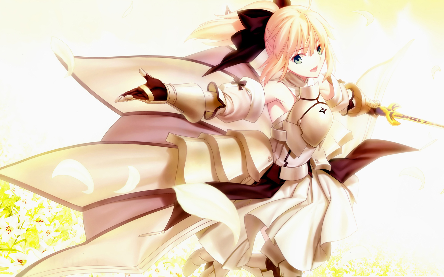 armor blonde_hair bow dress fate/stay_night fate/unlimited_codes ponytail saber_lily weapon