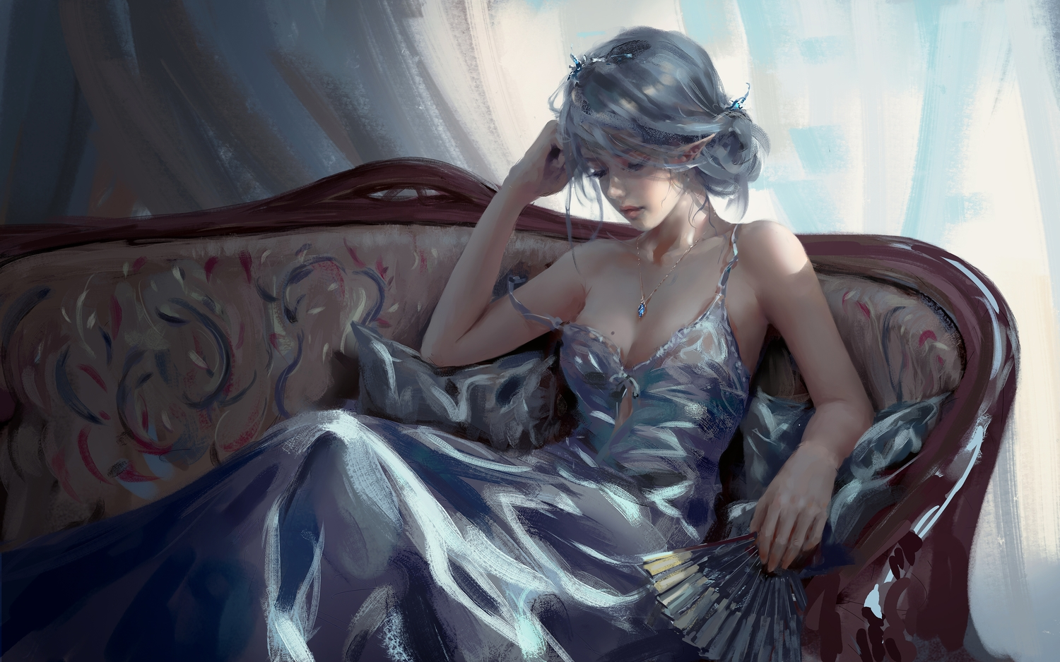 breasts celestia_(wlop) cleavage couch dark dress fan ghostblade gray_hair logo necklace no_bra pointed_ears realistic tiara watermark wlop