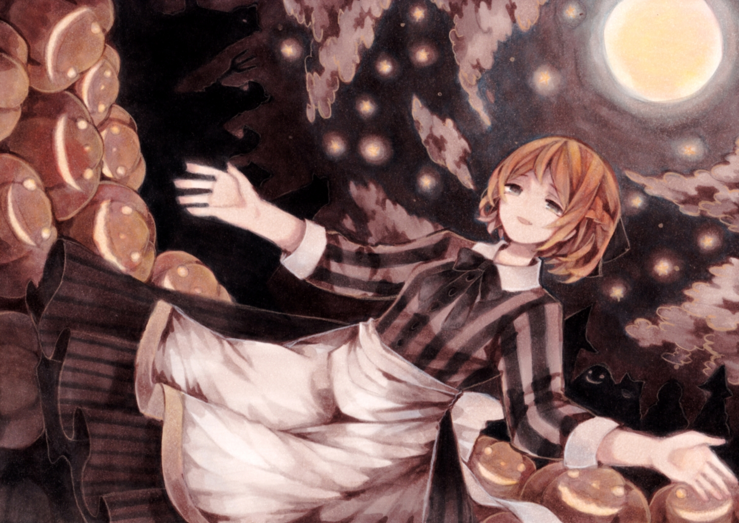 apron blonde_hair bow clouds dress halloween katherine_livermore moon night pumpkin short_hair sound_horizon stars wiriam07
