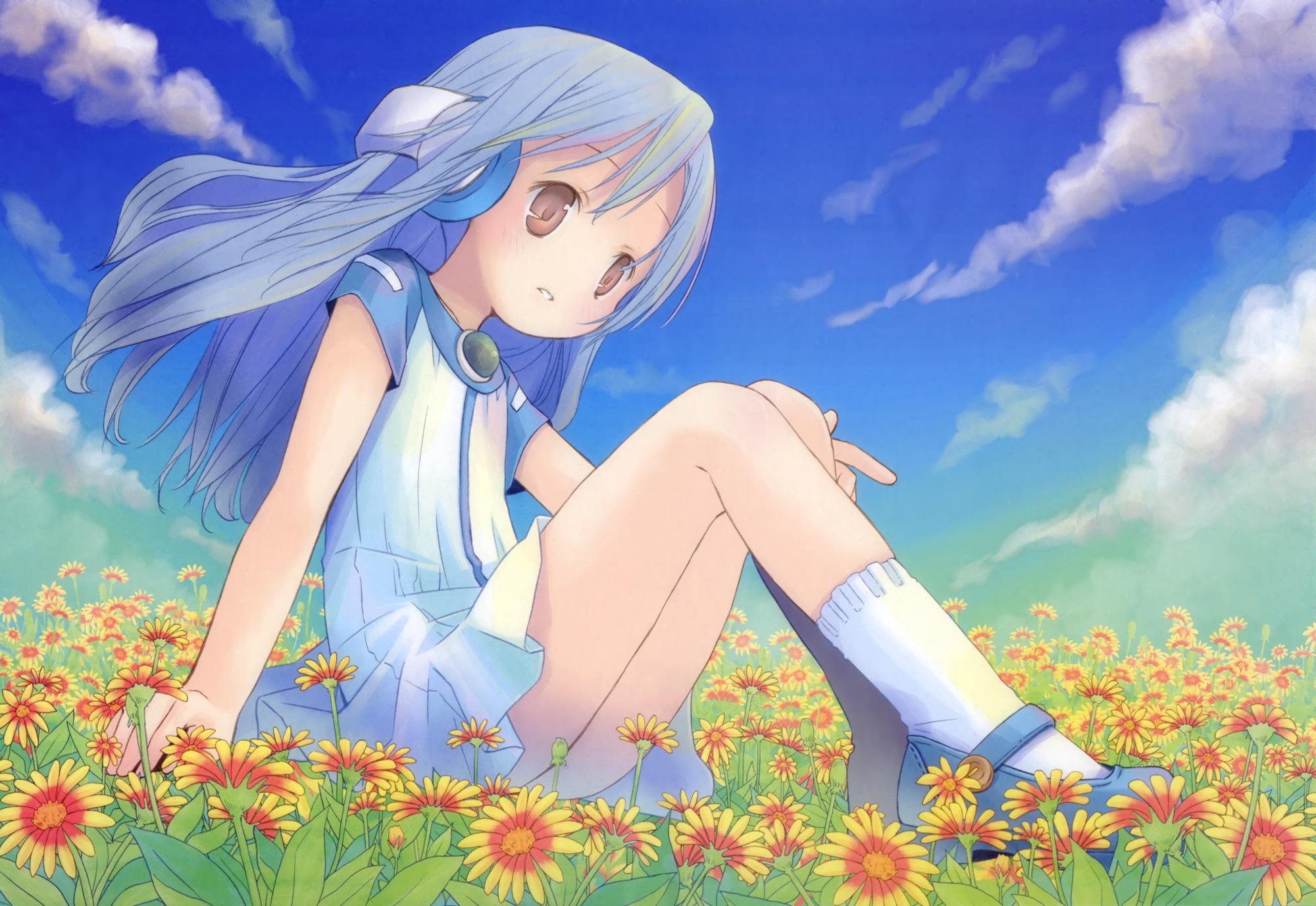 blue_hair brown_eyes dress flower_(kowarekake) kowarekake_no_orgel loli pop