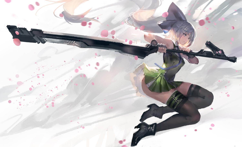 boots gloves gray_hair green_eyes kishiyo konpaku_youmu long_hair ponytail skirt sword thighhighs tie touhou weapon