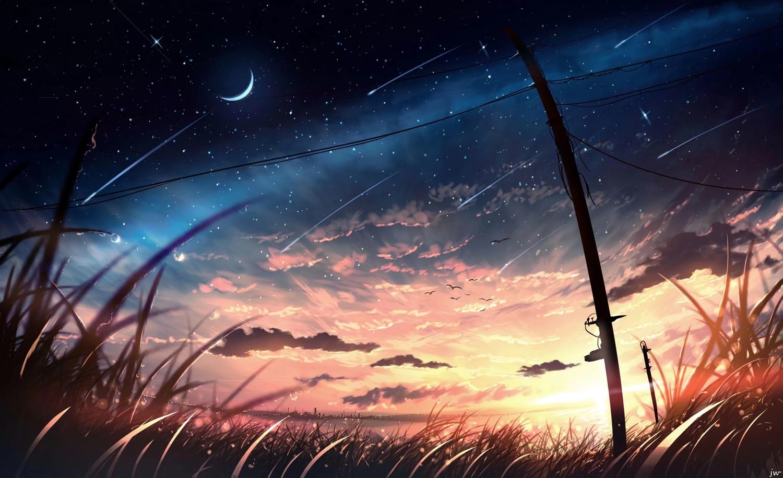 animal bird building city clouds grass moon nobody original scenic signed silhouette sky skyrick9413 stars sunset third-party_edit