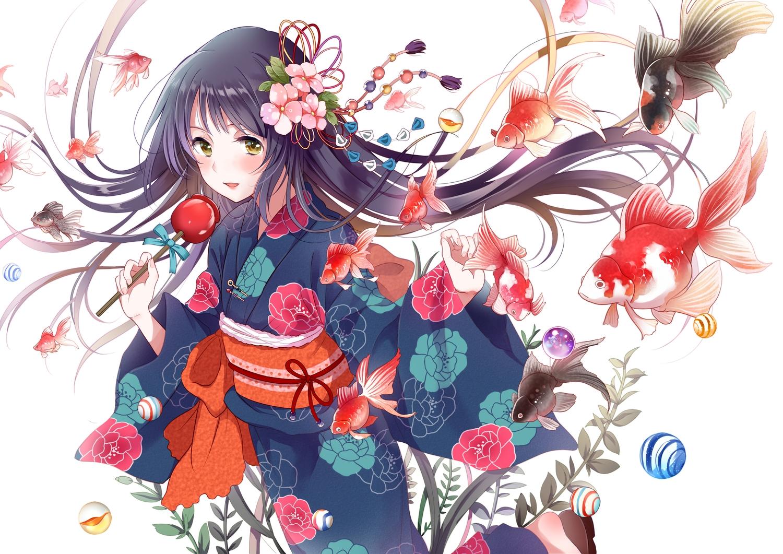animal apple black_hair candy fish flowers food fruit green_eyes japanese_clothes long_hair original white yatomi yukata