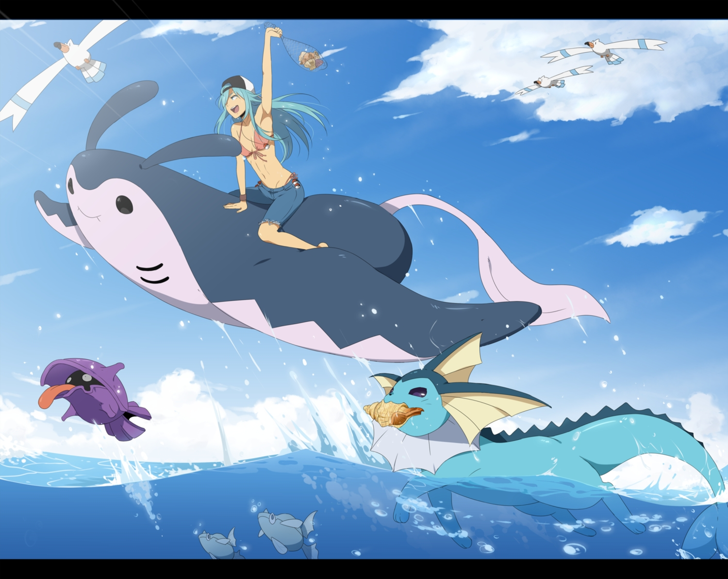 aqua_hair bikini blue_hair bra clouds hat mantine pokemon remoraid shellder swimsuit underwear vaporeon water wingull