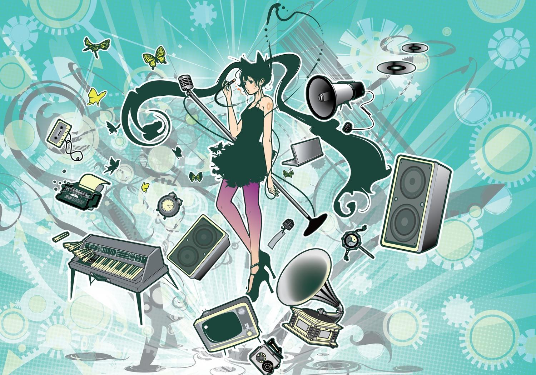 azuma_shou butterfly computer dress green_eyes green_hair hatsune_miku instrument long_hair microphone piano twintails vocaloid