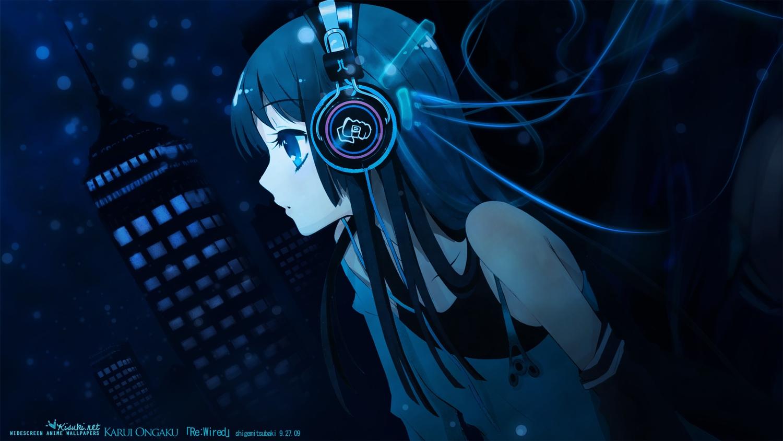 akiyama_mio black_hair blue_eyes building city headphones itou_noiji jpeg_artifacts k-on! long_hair night polychromatic watermark