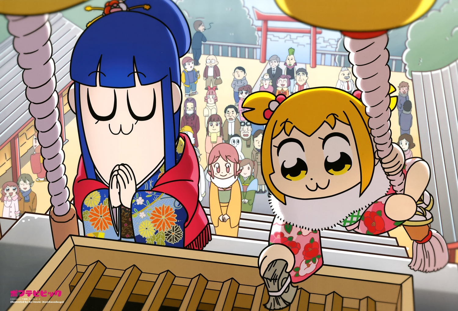 blonde_hair blue_hair japanese_clothes kimono long_hair pipimi pop_team_epic popuko scan shrine umeki_aoi