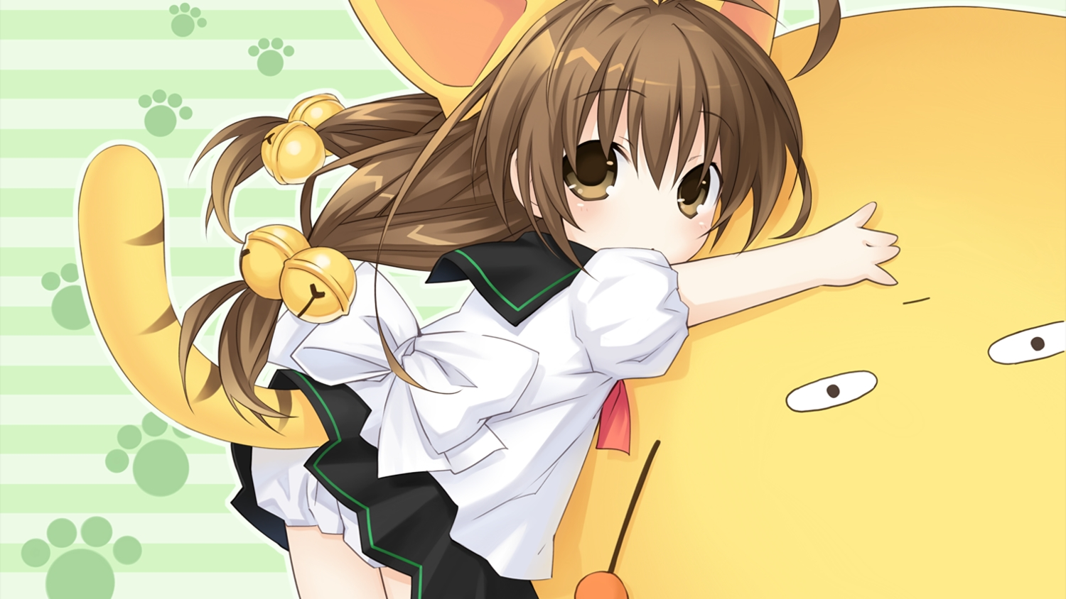 animal_ears brown_eyes brown_hair catgirl di_gi_charat loli long_hair puchiko tail tsunako
