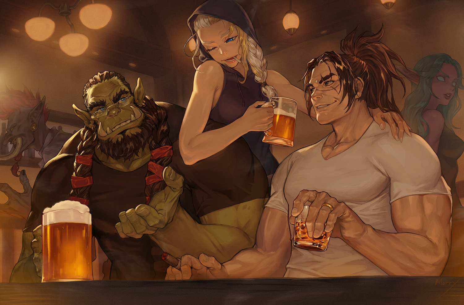 black_hair blonde_hair blue_eyes braids brown_hair cigarette drink glasses green_hair group hoodie long_hair male morry_evans pointed_ears ponytail red_eyes scar signed smoking twintails wink world_of_warcraft