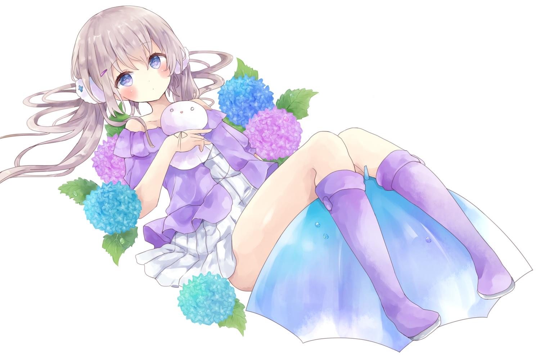blue_eyes blush brown_hair dress flowers long_hair original tsukiyo_(skymint) twintails