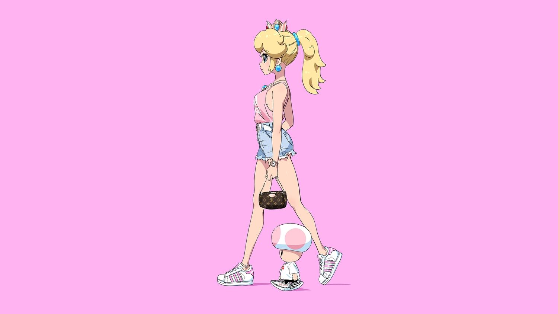 blonde_hair blue_eyes crown long_hair necklace pink ponytail princess_peach shirt shorts super_mario_bros toad tom_skender wristwear