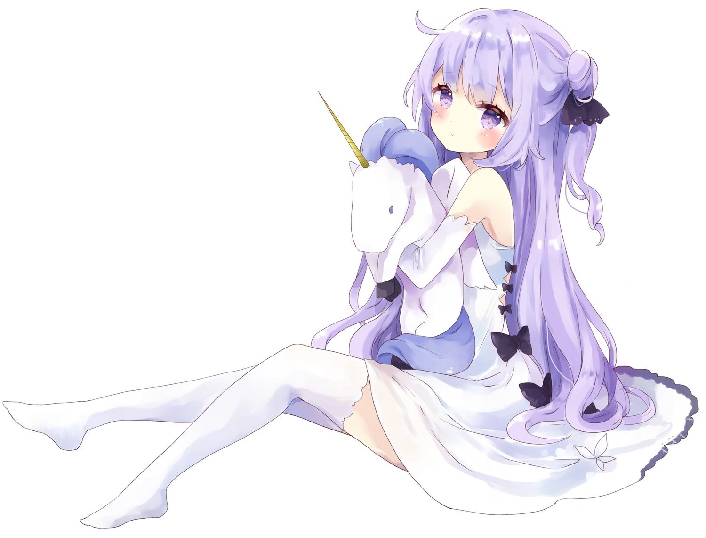 animal anthropomorphism azur_lane bow dress horse long_hair purple_eyes purple_hair thighhighs tsukiyo_(skymint) unicorn unicorn_(azur_lane) white