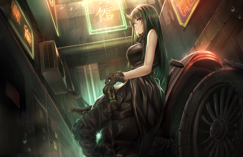 arknights breasts drink gloves green_hair horns hoshiguma_(arknights) k.k_(pixiv) long_hair motorcycle yellow_eyes