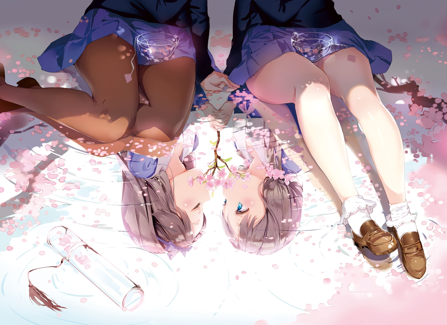 2girls anmi anthropomorphism blue_eyes brown_hair cherry_blossoms cropped flowers pantyhose petals reflection scan school_uniform shoujo_ai socks water