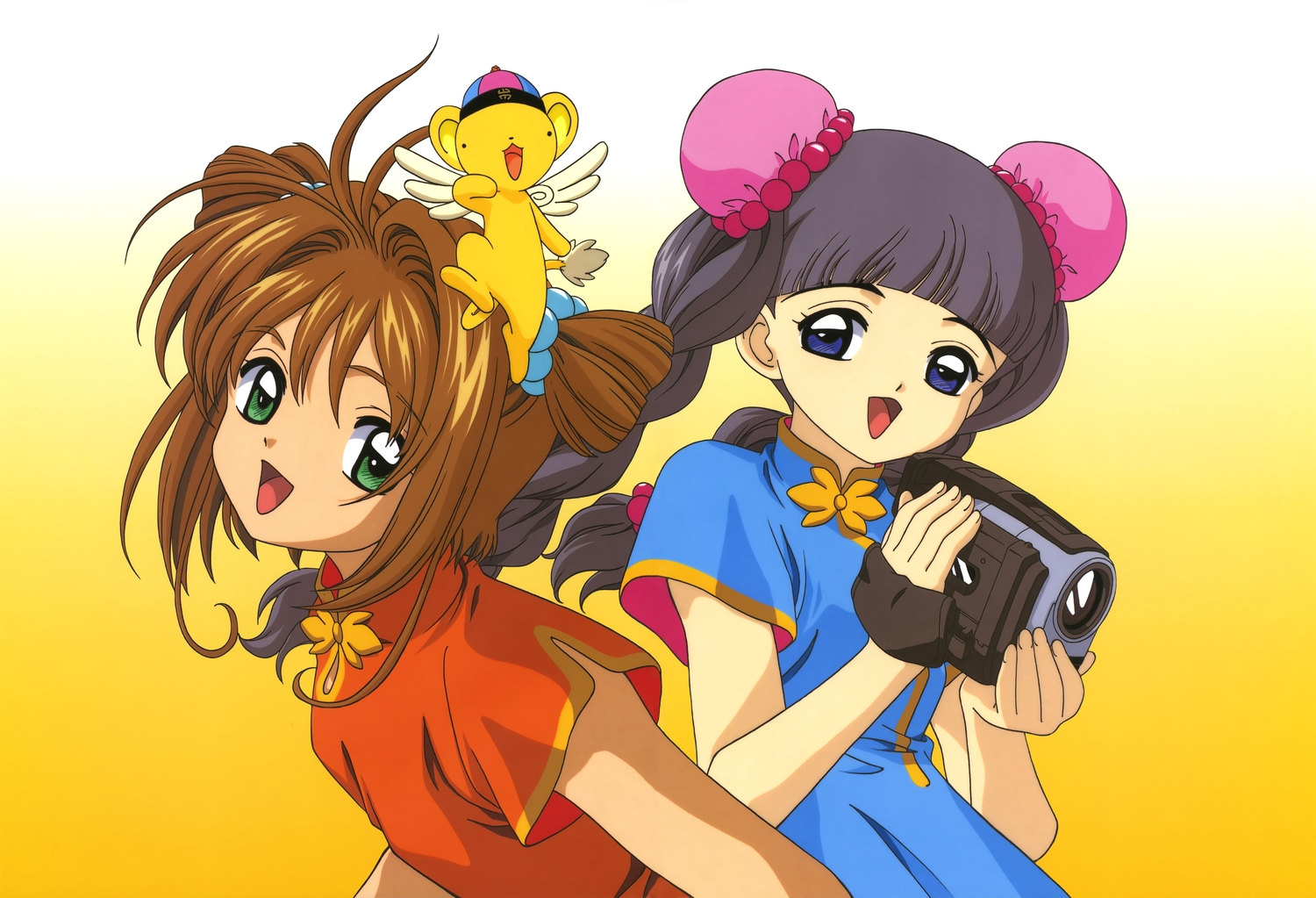 animal black_hair blue_eyes braids brown_hair camera card_captor_sakura chinese_clothes chinese_dress clamp daidouji_tomoyo dress gradient green_eyes kero kinomoto_sakura long_hair scan short_hair twintails