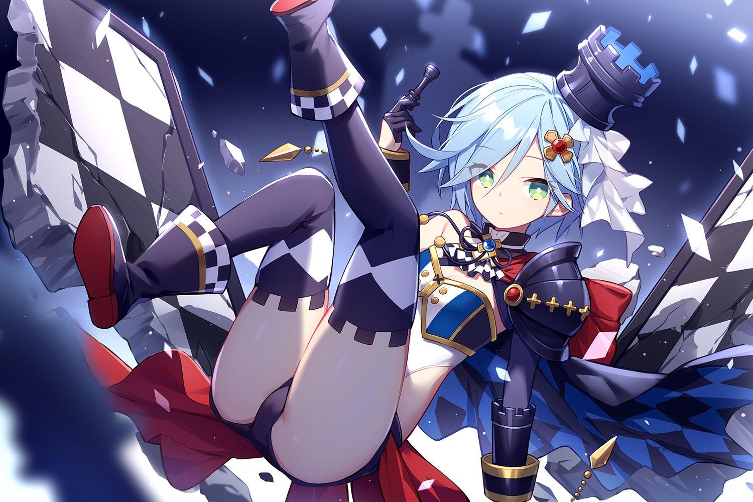 armor blue_hair cameltoe cape cornelia_(girl_cafe_gun) girl_cafe_gun_(game) gloves green_eyes kurisu_tina short_hair thighhighs
