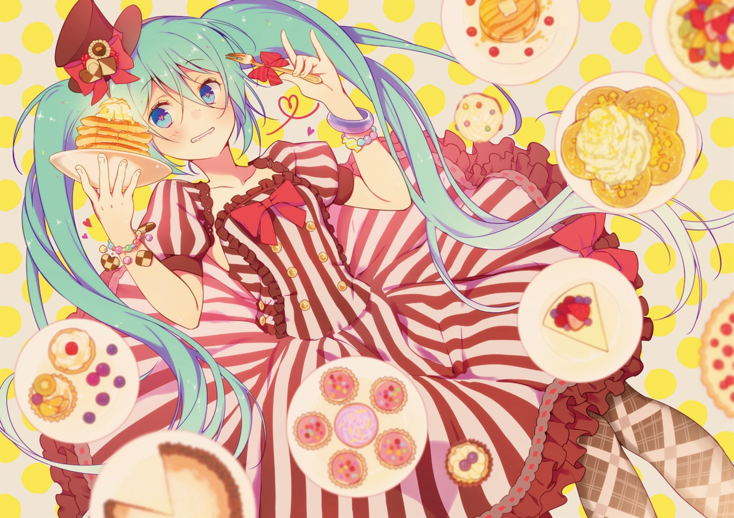 aqua_hair blue_eyes dress food hat hatsune_miku twintails vocaloid wogura wristwear