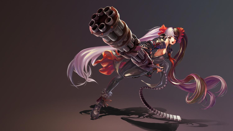 blade_&_soul boots brown_eyes gun long_hair po_hwa_ran sideboob twintails ushas weapon