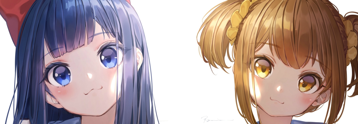 blonde_hair blue_eyes blue_hair blush bow cat_smile close hakura_kusa long_hair pipimi pop_team_epic popuko short_hair signed twintails waifu2x white yellow_eyes