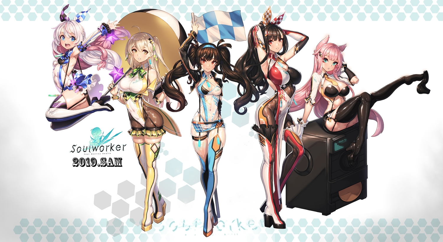 animal_ears aqua_eyes blonde_hair boots breasts brown_hair chii_aruel chinese_clothes chinese_dress cleavage ecell garter_belt green_eyes group headband iris_yuma lily_bloomerchen logo long_hair pink_hair red_eyes see_through skintight soul_worker stella_unibell tagme_(character) thighhighs twintails umbrella white_hair yellow_eyes zettai_ryouiki