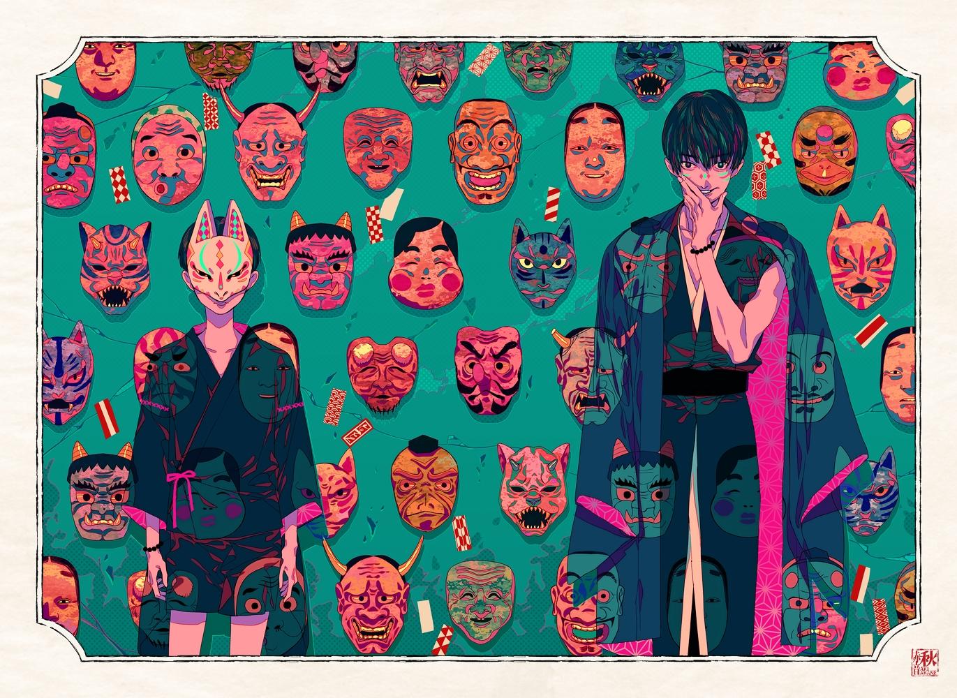 akiakane all_male japanese_clothes male mask original polychromatic short_hair wristwear