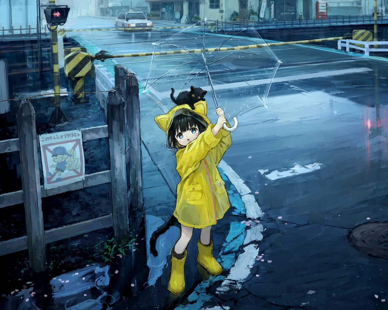 animal animal_ears blue_hair boots cat catgirl cropped gray_eyes loli original rain short_hair sho_(sho_lwlw) tail umbrella water